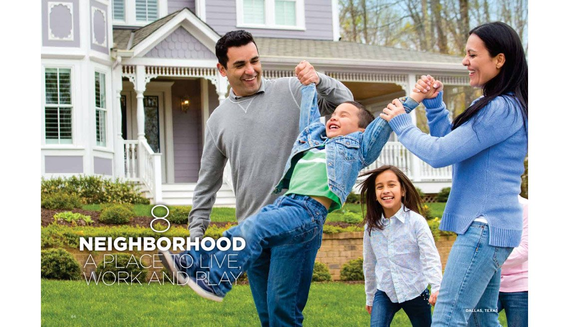 Family, Outdoors, House In Background, Smiling Parents Swing Young Son With Daughters In Background, Where We Live, Neighborhoods, Livable Communities