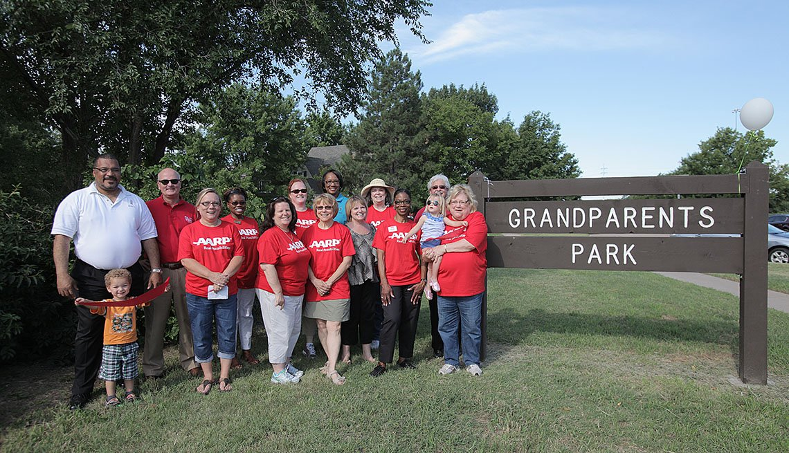 Grandparents With Grandkids Pose By Sign For Grandparents Park, Where We Live, Neighborhoods, Livable Communities