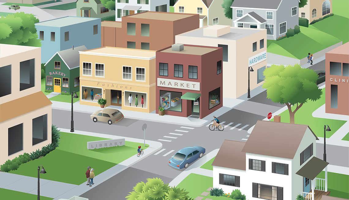 Illustration of a main street, people walking, AARP Network of Age-Friendly Communities, Livable Communities