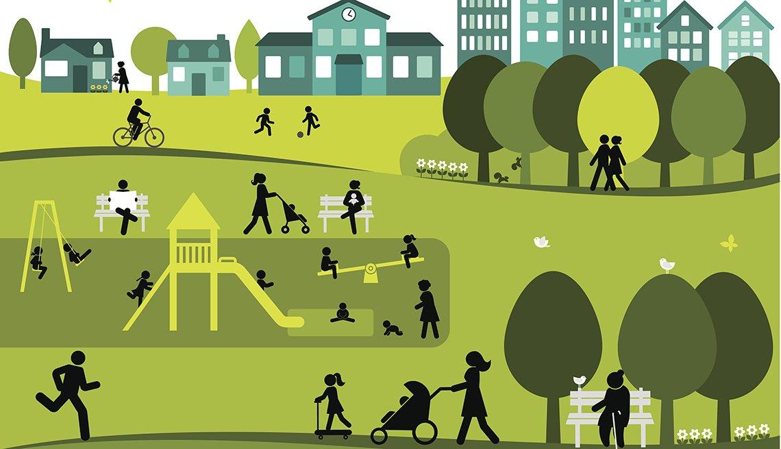 Illustration, People Enjoying Park, Livable Communities