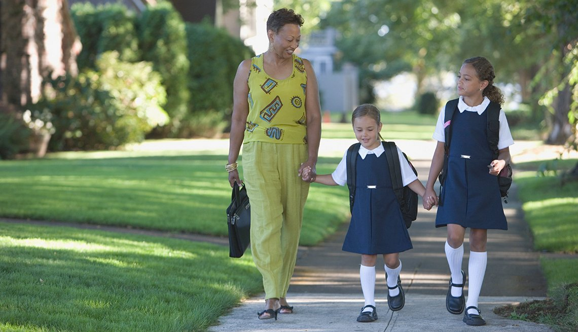 Mother, Daughters, Walking On Sidewalk, Livable Communities