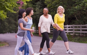 Women exercising outdoors. Livable Communities and Public Health.