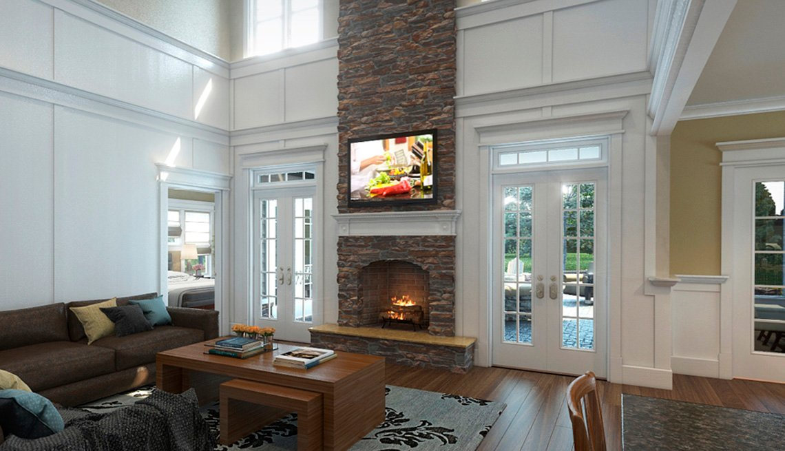 Living Room, Television, Fireplace, Furniture, Residence, Livable Communities, 2014 Home For Life