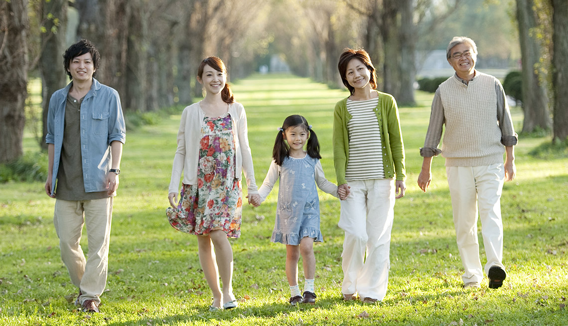 Outdoor Spaces And Buildings, An Asian Family Walks And Holds Hands In The Park, Livable Communities, 8 Features Of An Age Friendly Community