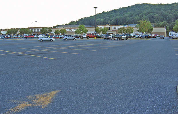 A typical big box store parking lot