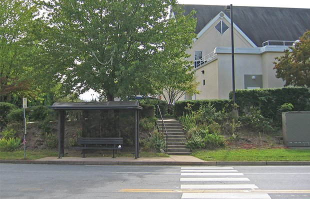 Missing sidewalks and steps to a senior center