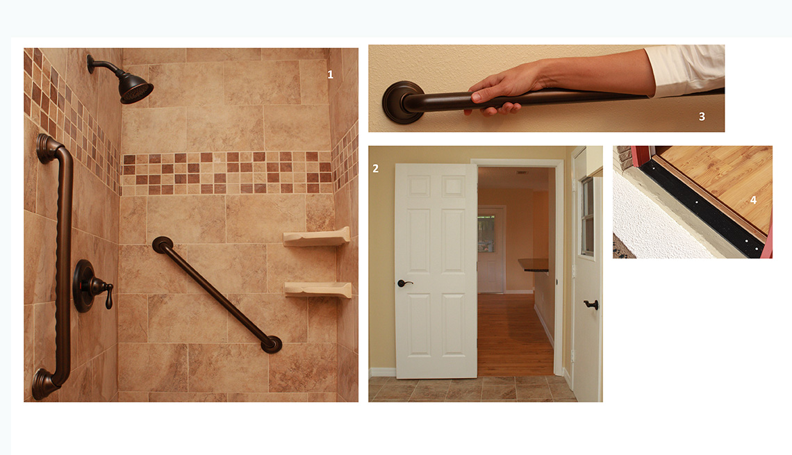 Safety features installed during the remodeling include bathroom grab bars, flat doorway thresholds and fully opening doors