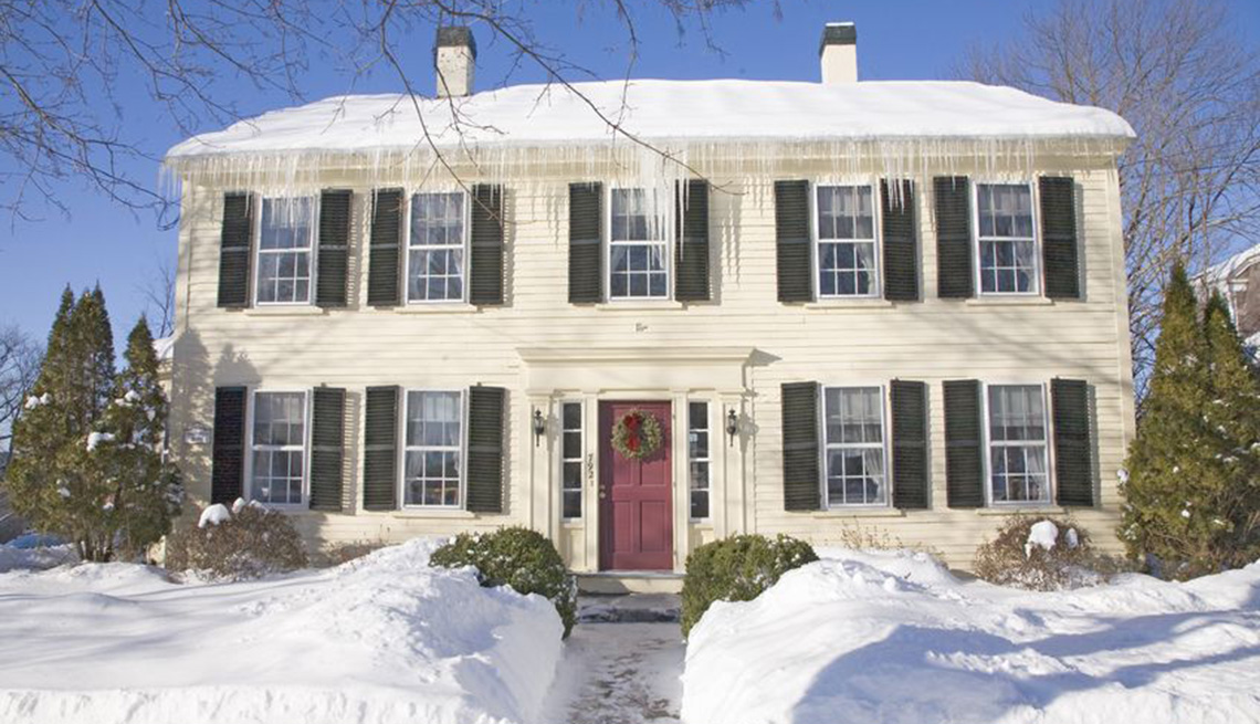 Snow Covered House And Streets Winter, Aging In Cold Weather States, Livable Communities