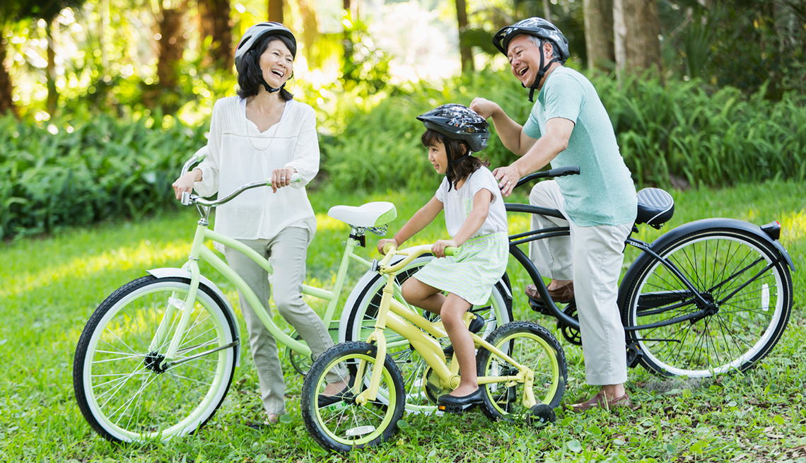 Grandparents, Granddaughter Bicyling Together, Livable Communities