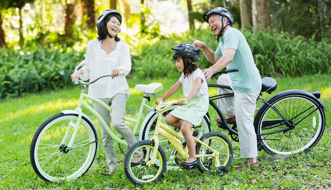 Grandparents, Granddaughter Bicyling Together, Livable Communities