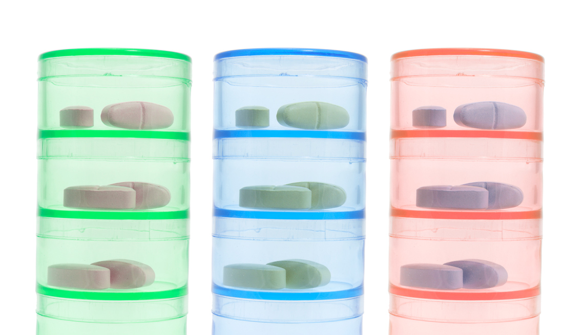 Stacked Pill Bottles With Pills, AARP Livable Communities, How To Create A Handy Tool's Display