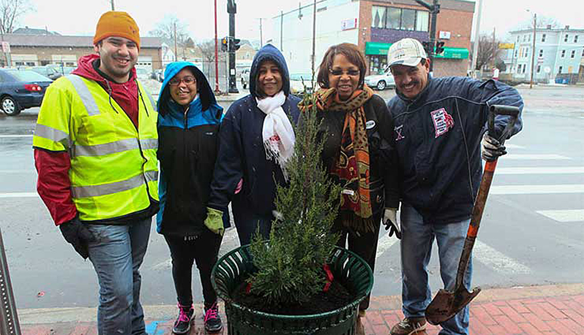A Group Of People Pose In Front Of Tree They Planted On Street, Tree, Street Trees, Livable Communities