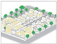 How form-based codes define a one-block parcel.