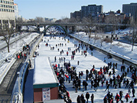 Skaters enjoy the frozen canals in Ottawa, Canada.