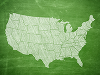 Green-colored illustration of the continental United States