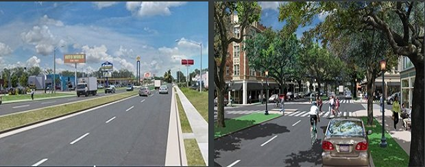 "A ""before"" and imagined ""after"" of a roadway in Savannah, Georgia."