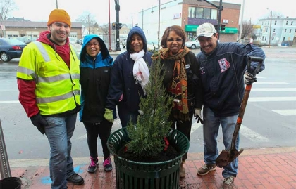 Tree planting in Providence, Rhode Island.