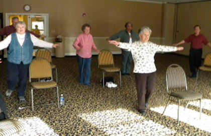Older adults exercise at the Auburn Hills Community Center in Michigan