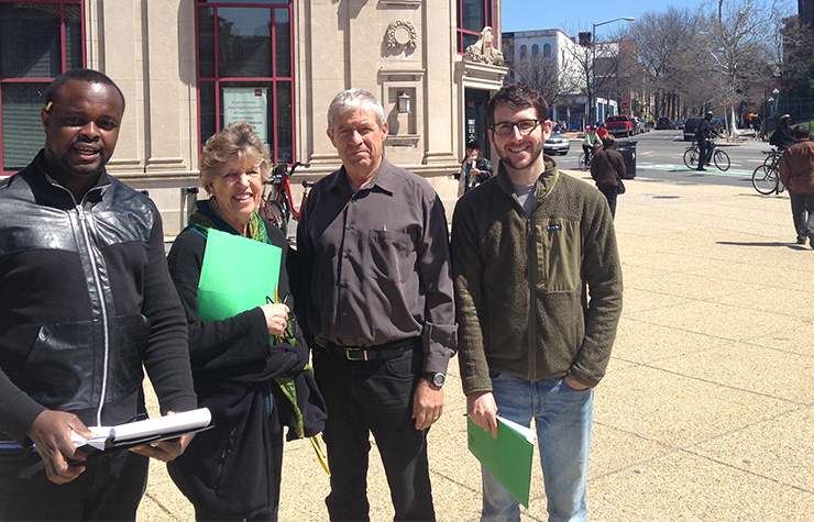 Volunteers in Washington, D.C. conduct a walk audit near Dupont Circle