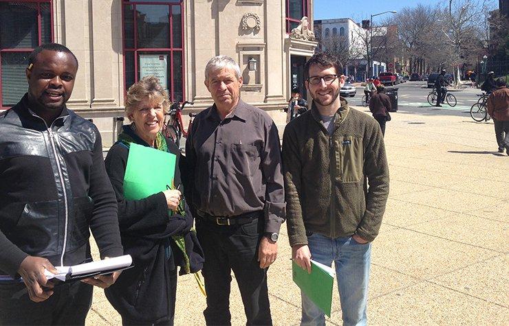 Volunteers in Washington, D.C. conduct a walk audit near Dupont Circle