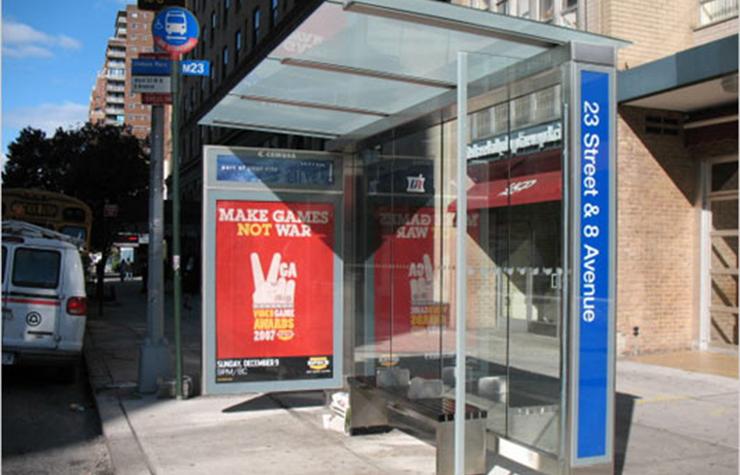 A bus shelter in Manhattan