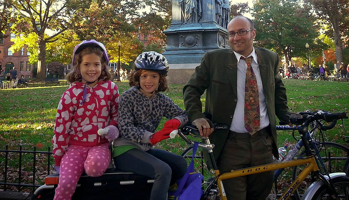 Family Of Three, Bike, Park, Father,Two Daughters, How To Go Car Free, Livable Communities