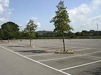 An empty parking lot