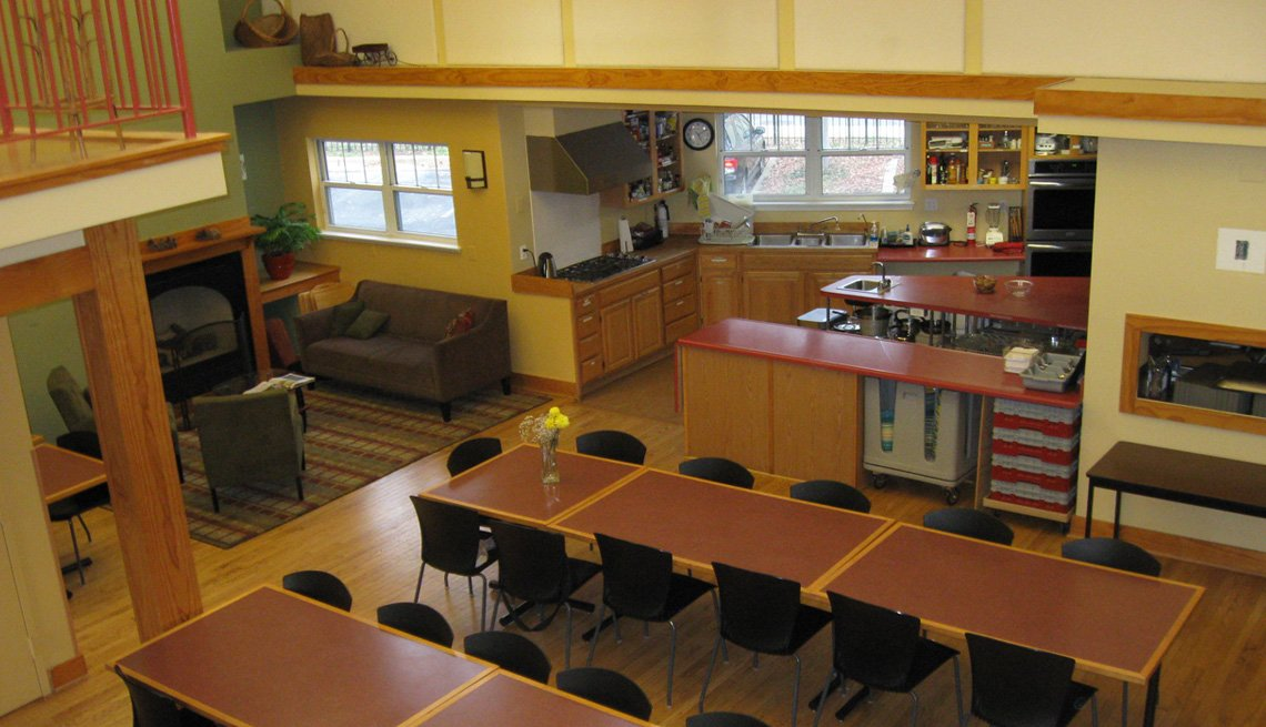 Common House, Great Room, Kitchen, Table, Chairs, Livable Communities, Co-Housing