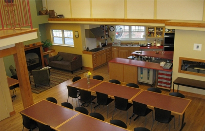 The kitchen and dining area in the common house