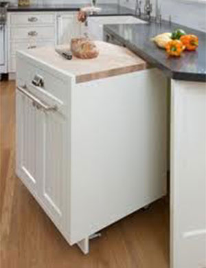 A portable kitchen cabinet.
