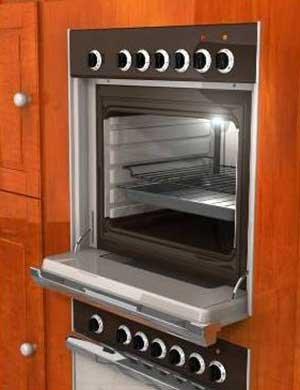 The door of this oven slides beneath itself. — Photo courtesy Dan