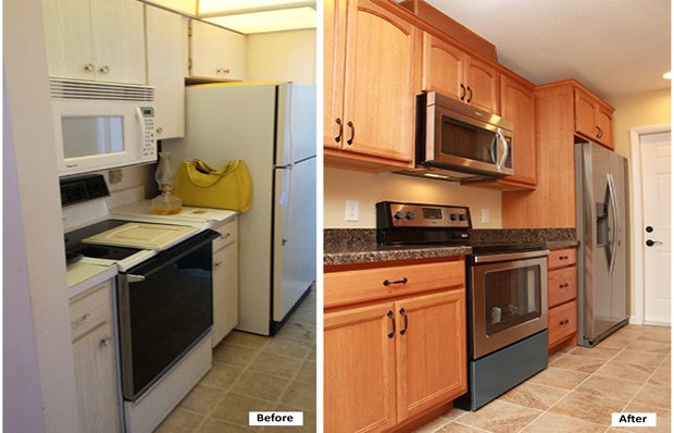 Kitchen appliances before and after remodeling.
