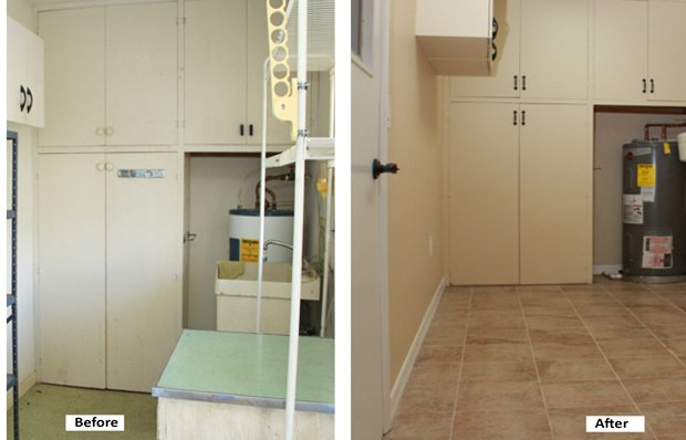 Mudroom before and after remodeling.