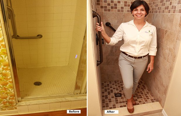 Stall shower before and after remodeling (modeled by occupational therapist Carolyn Sithong).