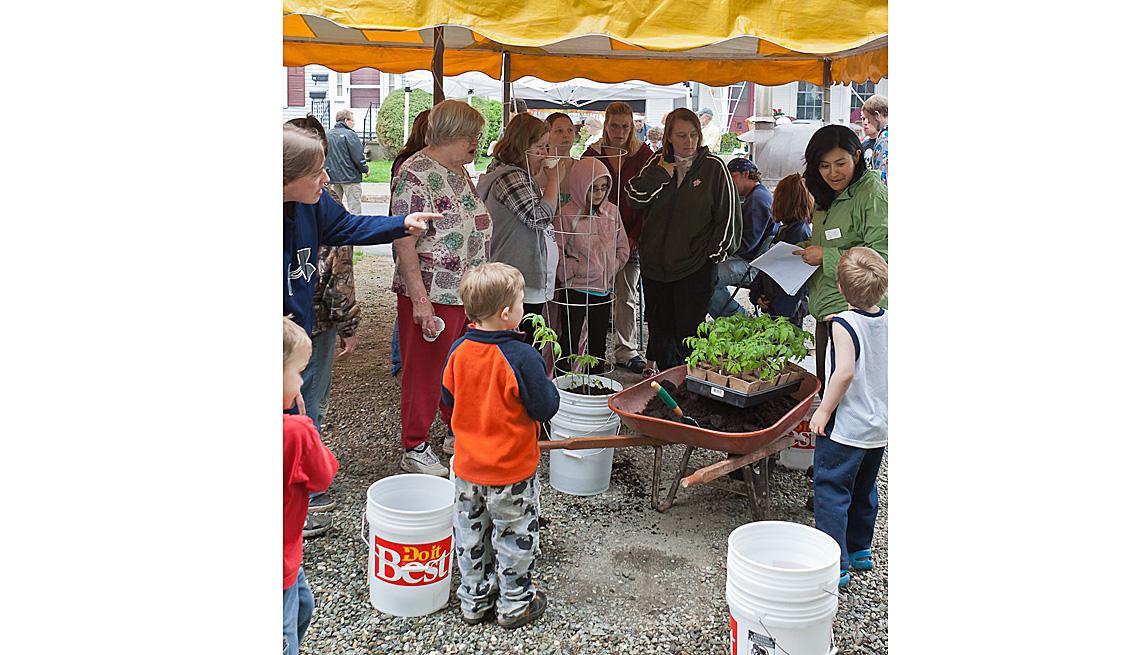 Some Boys And Neighbors Look At Garden Harvest, Herbs, Wheelbarrow, How To Create And Maintain A Community Garden, Livable Communities