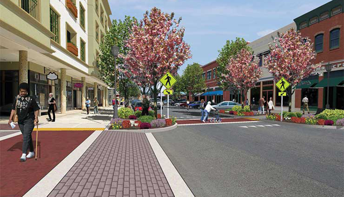 Curb Extension, Rendered Drawing Of Street And Town Layout Crosswalks, Livability Index, Livable Communities
