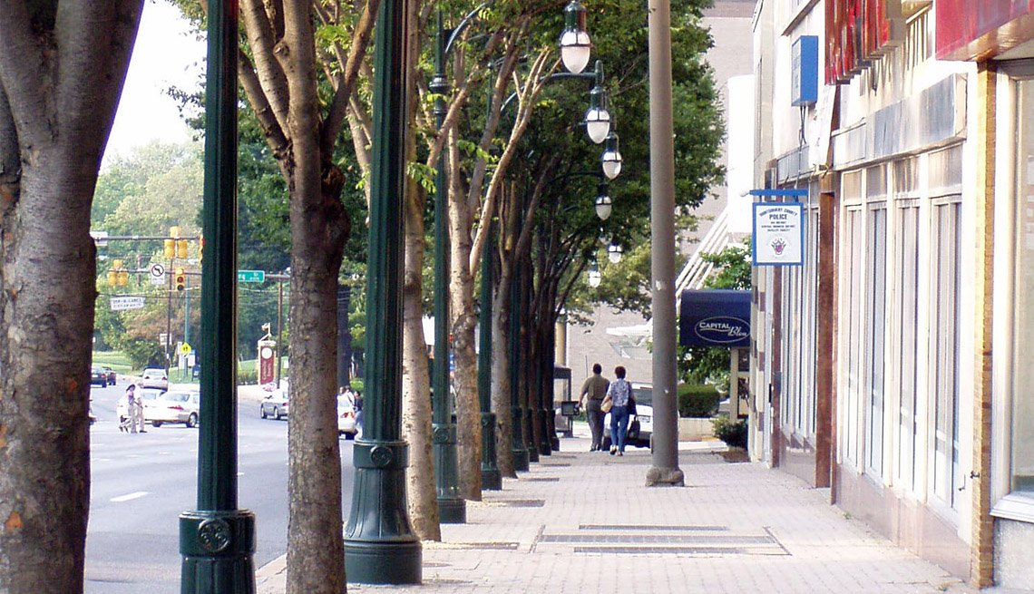 Pedestrian Scaled Decorative Lighting, Street, Shops, Trees, Livability Index, Livable Communities