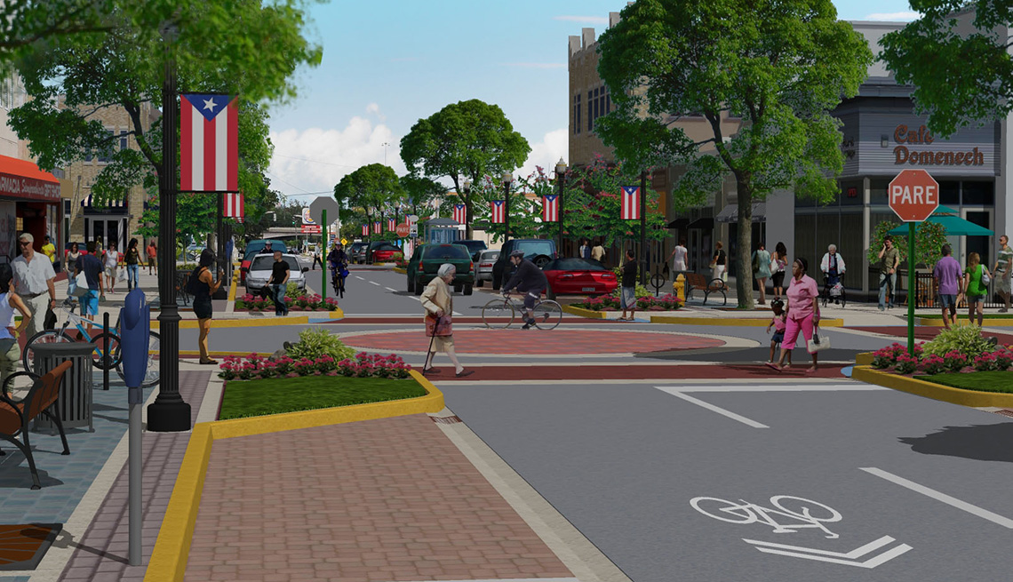 Lane Narrowing, Rendered Drawing, Town And Street Layout, Livability Index, Livable Communities