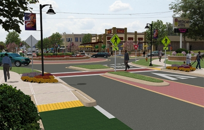 Improved streetscape in Des Moiines, Iowa