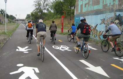 Shared use path in Detroit, Michigan
