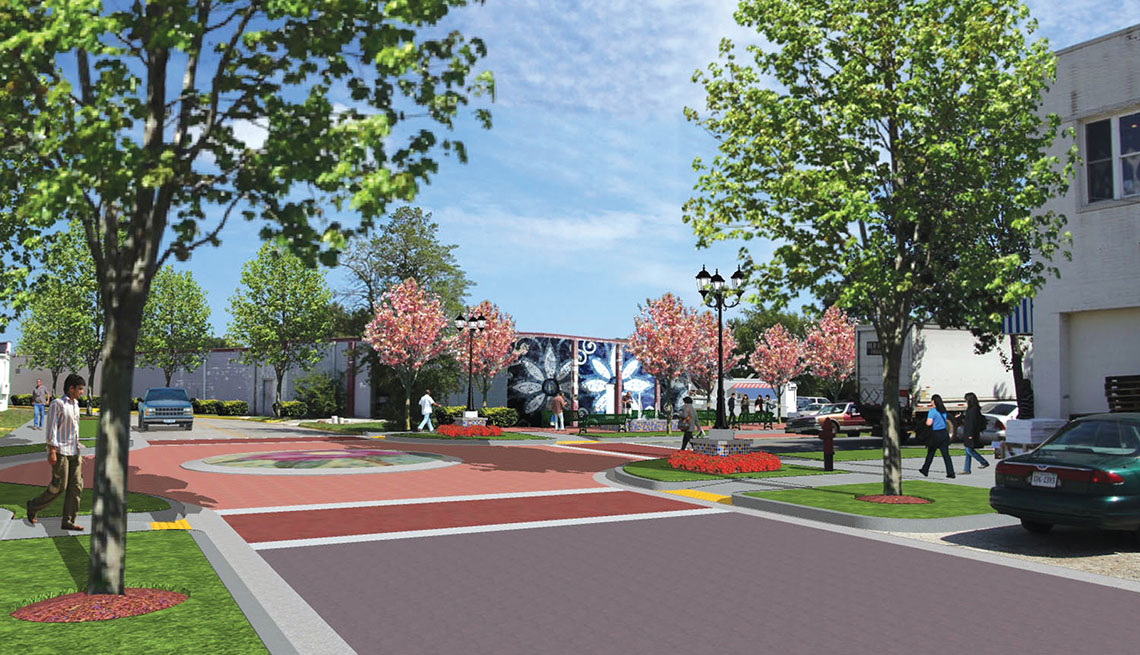 Exmore Virginia, Rendered Drawing, Renovation, Suburban Streets, Livable Communities