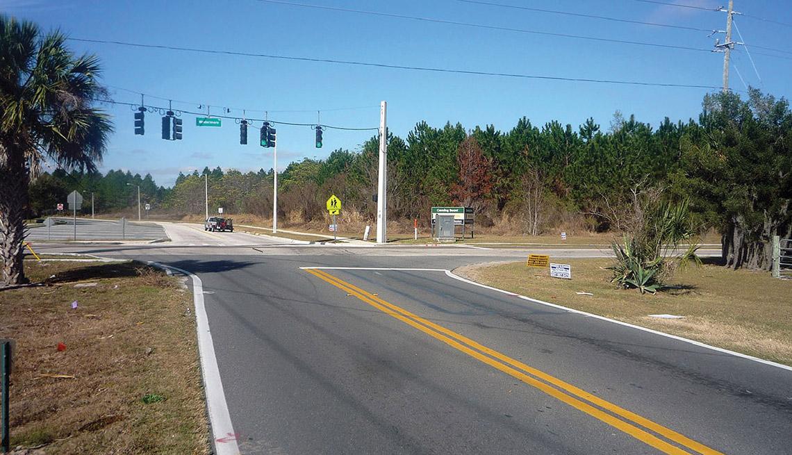 Winter Garden, Florida, Street, Suburban Road, Traffic Light, No Sidewalk,