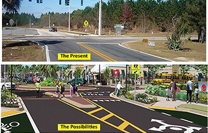 A before and proposed after photo of an intersection in Winter Park, Florida.