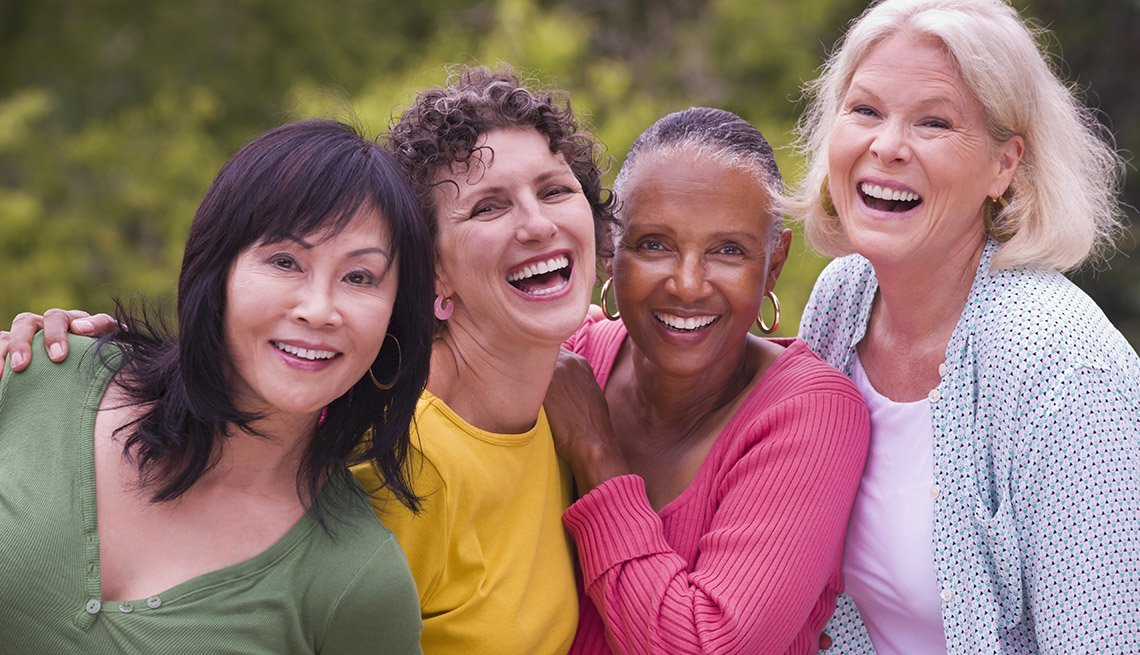 Group Of Smiling And Laughing Women Of Different Races, Mature Women, Friends, Socializing, In Livable Communities Slideshow