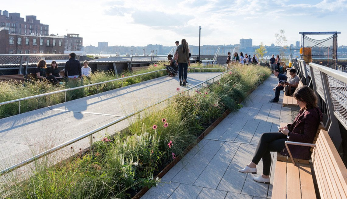 New York City, Highline Park, Woman On Bench, People Walking, Urban, Inspiring Livability Efforts, Livable Communities
