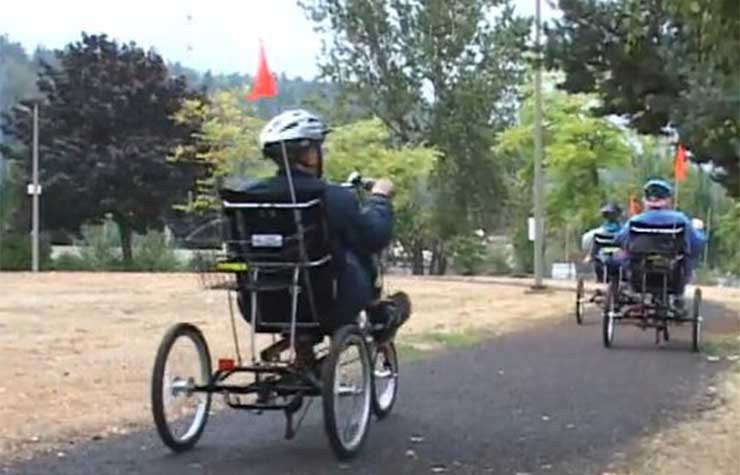 Three-wheeled recumbent bikes in Portland, Oregon