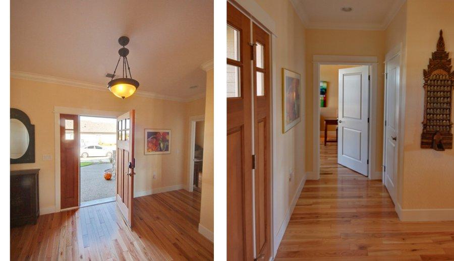 Side By Side Photos Of Front Door Open, Hallway, Door With Front Door In