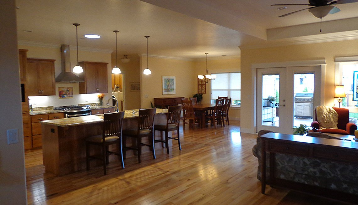 View Of The Main Great Room, Open Concept, Floorplan, Living Room, Kitchen, Dining Room, Home, Oregon, Livable Communities, Lifelong Homes