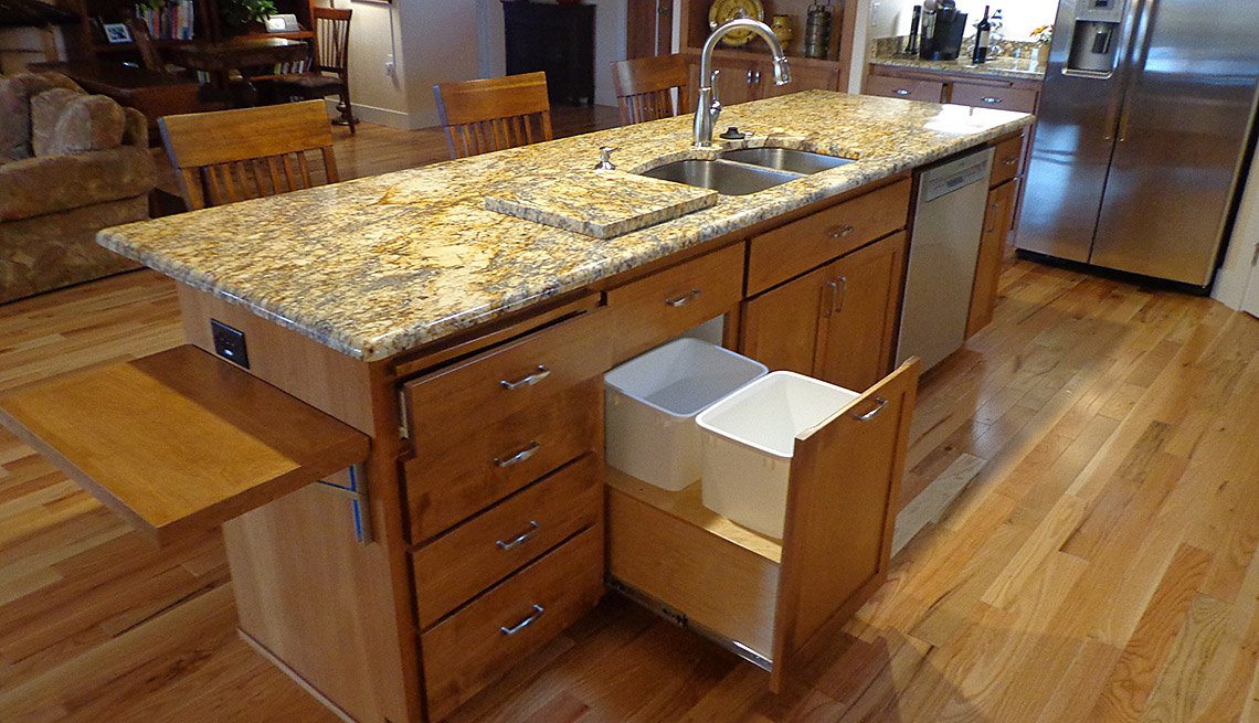 Kitchen Counter With Sink And Drawers For Trash And Recycling And A Fold Down Pop Up Shelf, Kitchen, Oregon, Livable Communities, Lifelong Homes