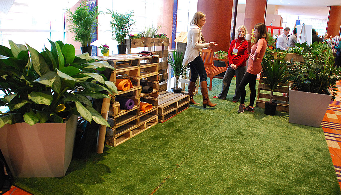 Coworkers Chat In The AARP Parklet, Officespace, How To Create A Parklet, Livable Communities